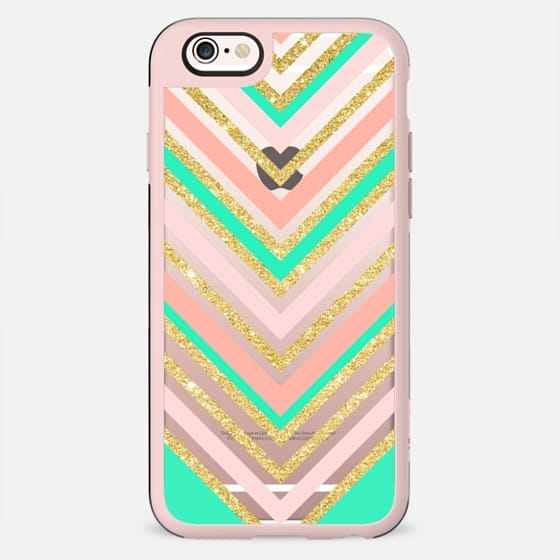 Modern boho pink faux gold glitter turquoise chevron pattern by Girly Trend - New Standard Case