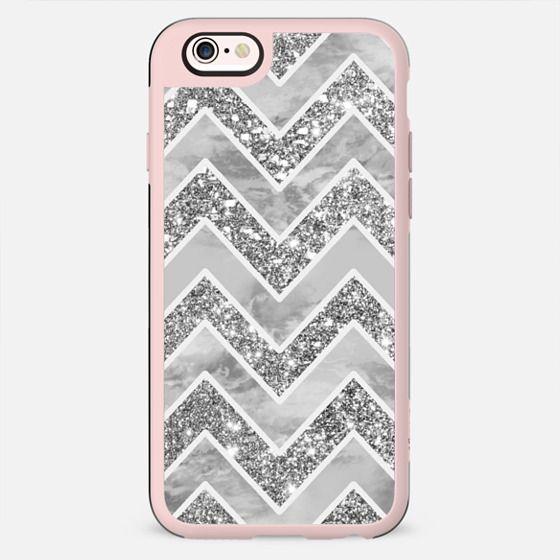 Modern gray watercolor faux silver glitter chevron pattern by Girly Trend - New Standard Case