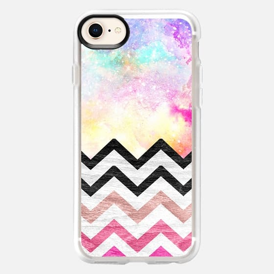 Hand painted Watercolor nebula space pink ombre wood chevron pattern by Girly Trend - Snap Case