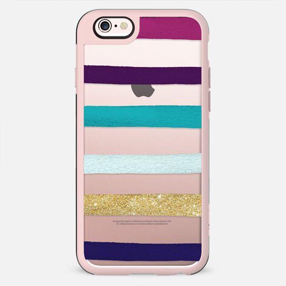 Modern Purple white gold handdrawn brushstroke paint stripes transparent by Girly Trend - New Standard Case