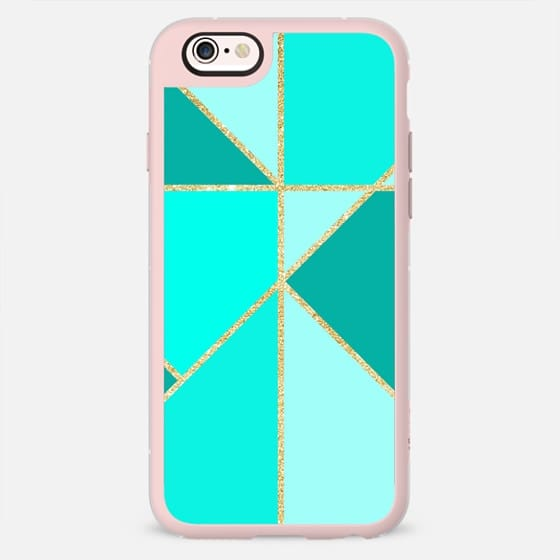 Modern turquoise jade triangle color block gold glitter stripes by Girly Trend