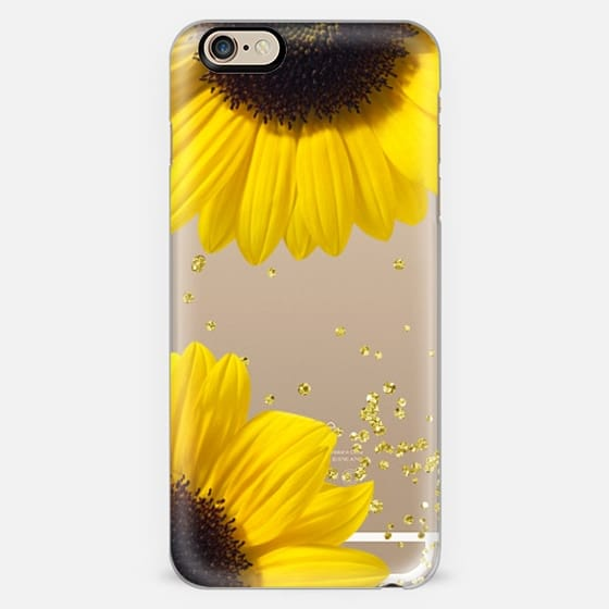 Bright sunflowers flower gold confetti -