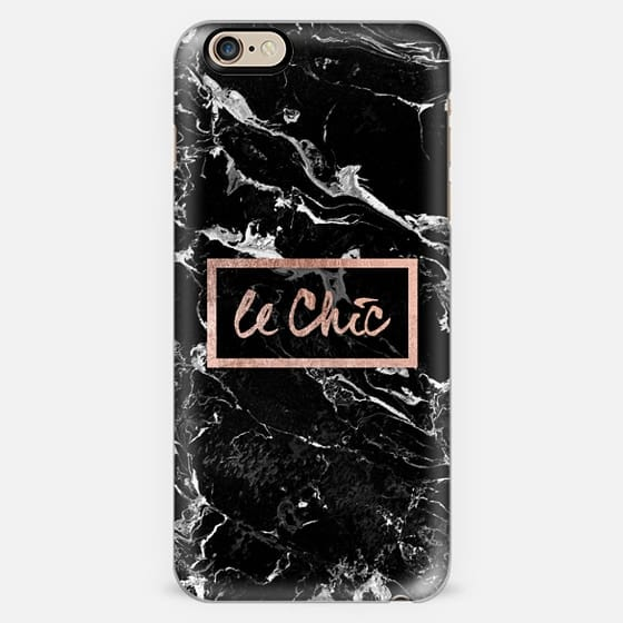 Modern stylish french le chic typography rose gold foil black marble by Girly Trend -
