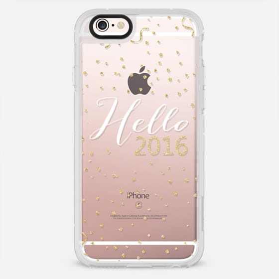 Hello 2016 typography gold confetti transparent - New Standard Case
