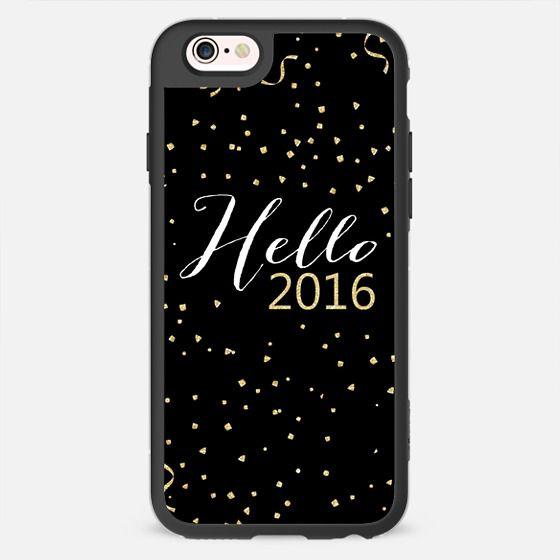 Hello 2016 typography gold confetti black