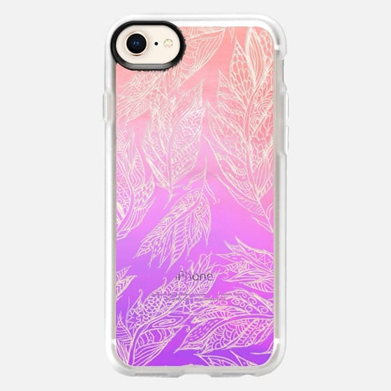 Coral pink ombre watercolor hand drawn feathers pattern - Snap Case