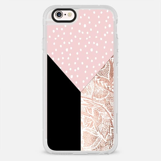 Modern pink white hand drawn polka dots rose gold foil floral mandala black color block by Girly Trend