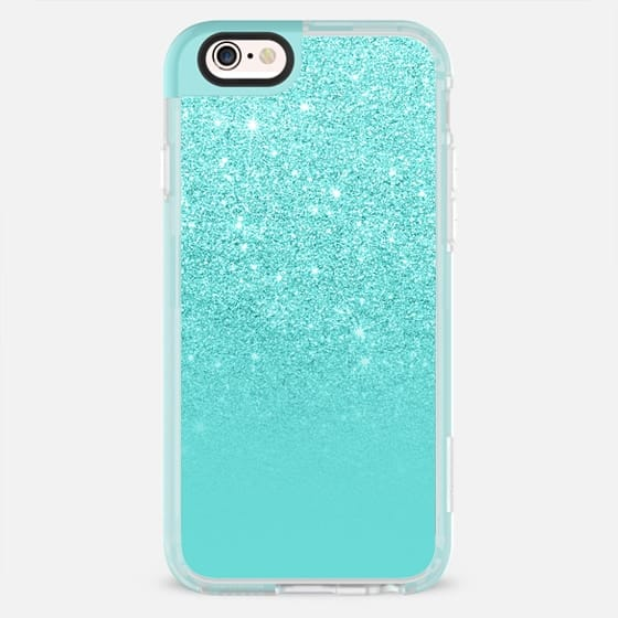 Modern pearl teal pastel faux glitter ombre color block by Girly Trend - New Standard Pastel Case