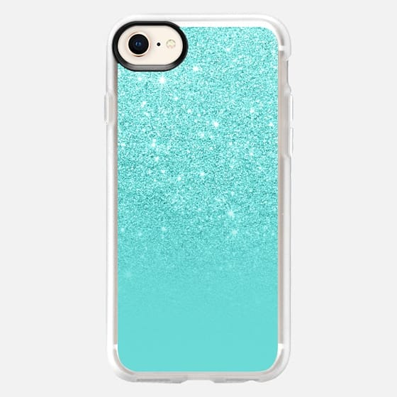 Modern pearl teal pastel faux glitter ombre color block by Girly Trend - Snap Case