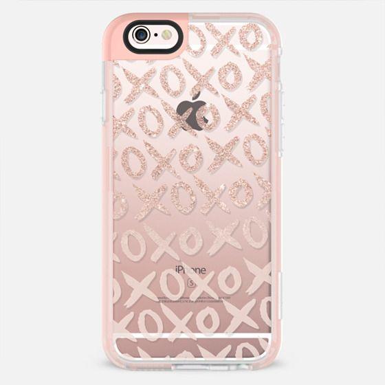 Modern Valentine typography xoxo rose gold glitter pastel blush pink watercolor brush by Girly Trend - New Standard Pastel Case