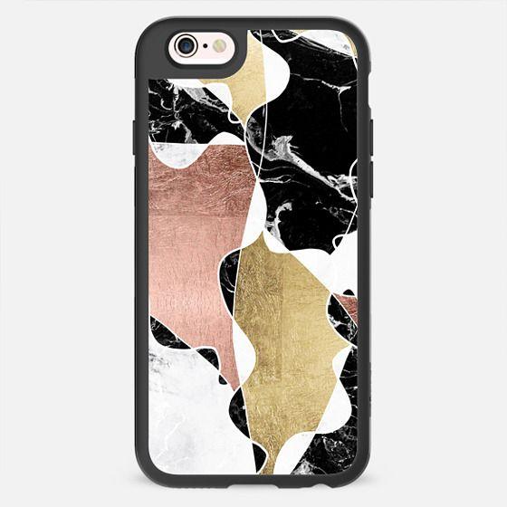 Modern White Black Marble Rose Gold Foil Color Block