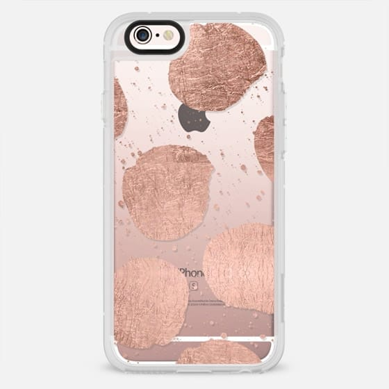 Modern rose gold polka dots brushstrokes by Girly Trend