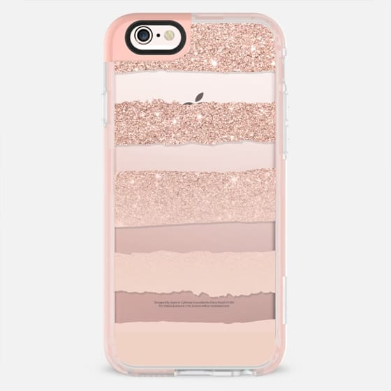 Modern faux rose gold glitter pastel blush pink watercolor stripes by Girly Trend