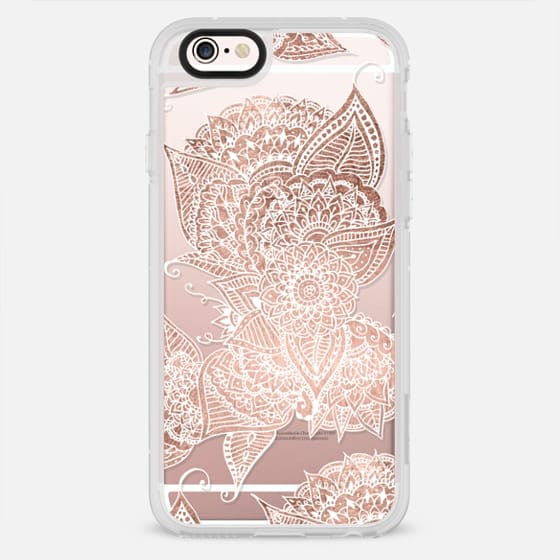 Modern chic rose gold white hand drawn floral mandala pattern by Girly Trend - New Standard Case