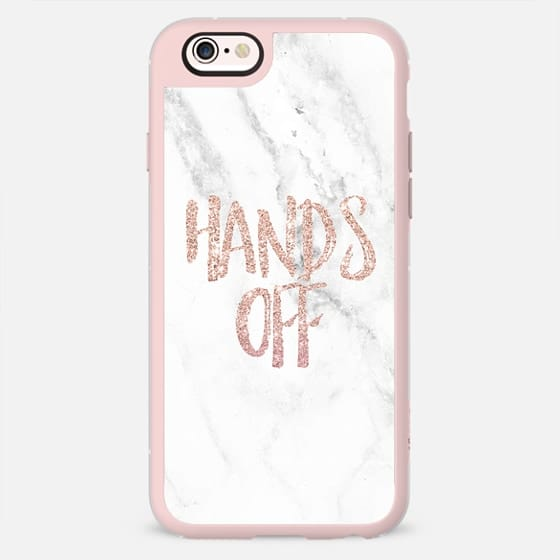 Modern trendy Hands off rose gold typography chic white marble by Girly Trend