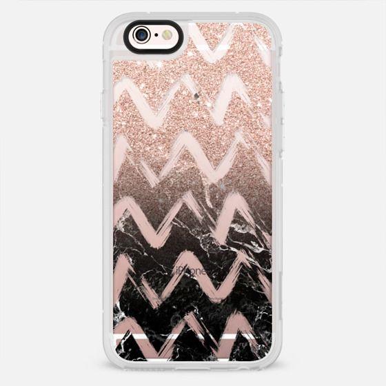 Modern rose gold glitter black marble chevron brushstrokes pattern by Girly Trend - New Standard Case