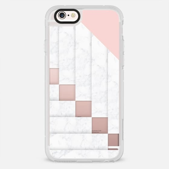 Modern white geometric marble color block pastel pink by Girly Trend