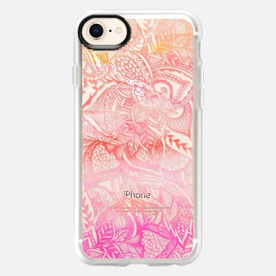 Floral hand drawn mandala sunset orange pink watercolor by Girly Trend - Snap Case
