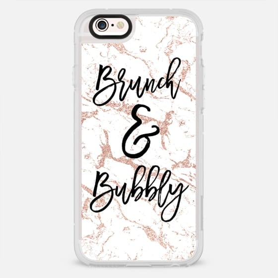 Modern black brunch and bubbly typography chic rose gold glitter white marble by Girly Trend - New Standard Case