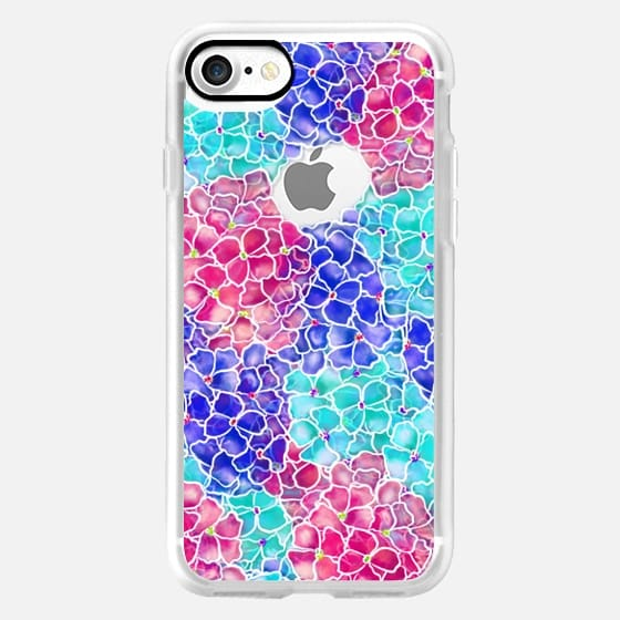 Modern hand painted pink teal turquoise hydrangea flowers pattern semi transparent by Girly Trend -