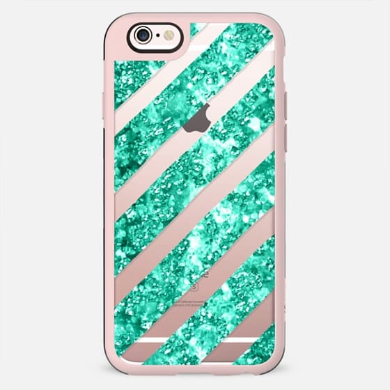 Modern faux turquoise glitter stripes by Girly Trend - New Standard Case