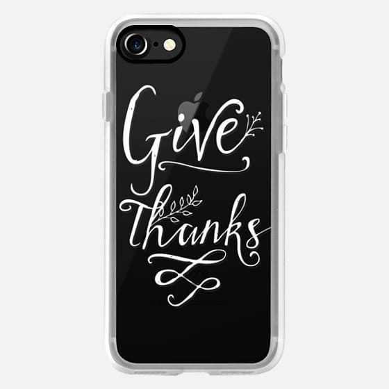 Modern thanksgiving | white give thanks typography floral swirls by Girly Trend -
