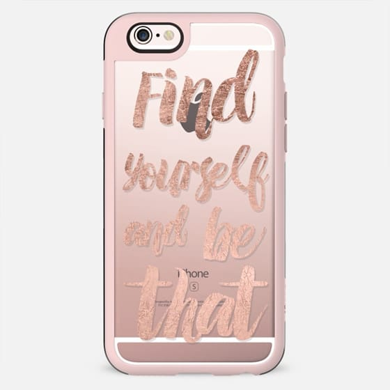 Motivation find yourself rose gold brushstroke modern typography by Girly Trend - New Standard Case