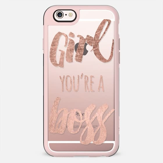 Modern faux rose gold girl you re a boss typograhy quote by Girly Trend - New Standard Case