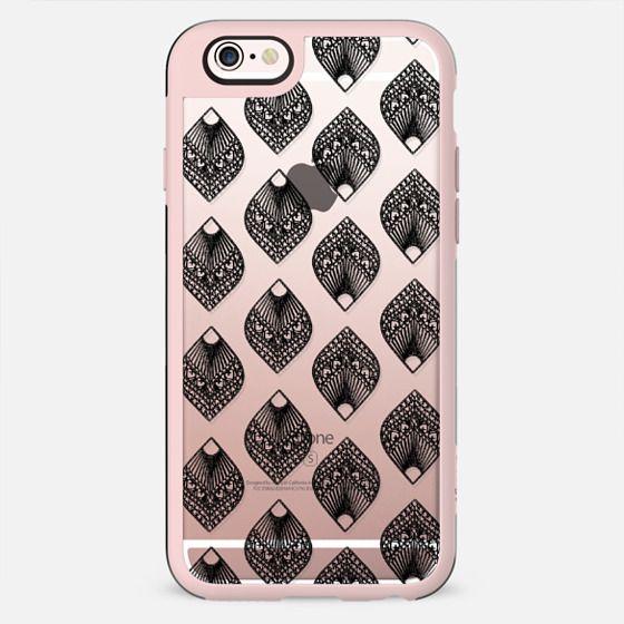 Modern black leaf mandala illustration pattern by Girly Trend - New Standard Case
