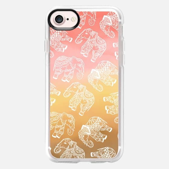 Paisley floral lace elephants illustration pink brown boho watercolor by Girly Trend - Classic Grip Case