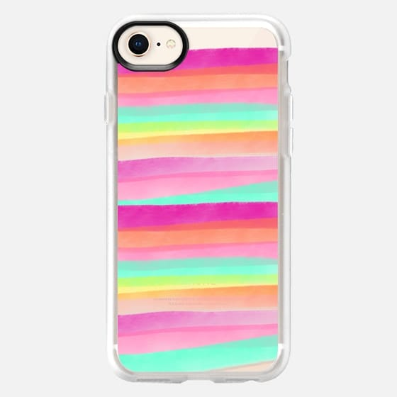 Modern summer pastel watercolor rainbow hand drawn stripes pink turquoise by Girly Trend - Snap Case