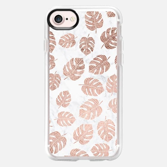 Modern tropical leaf monstera pink brown hand drawn illustration on white marble by Girly Trend - Classic Grip Case