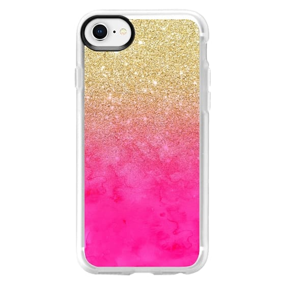 uk availability 7b470 3deea Classic Grip iPhone 8 Case - Modern girly gold glitter ombre fade neon pink  watercolor by Girly Trend