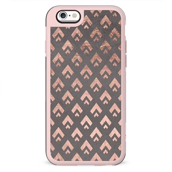 Faux rose gold foil triangles chevron pattern geometric grey concrete cement by Girly Trend