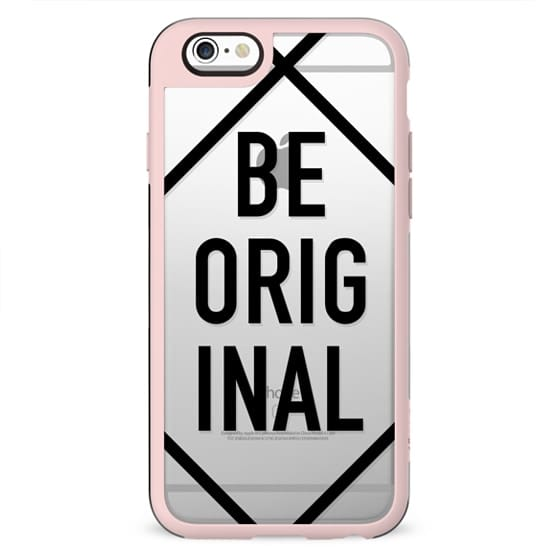 Modern be original black typography stripe geometric transparent quote by Girly Trend