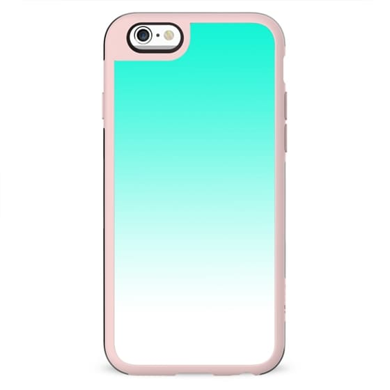 Modern bright simple mint green white color ombre gradient by Girly Trend