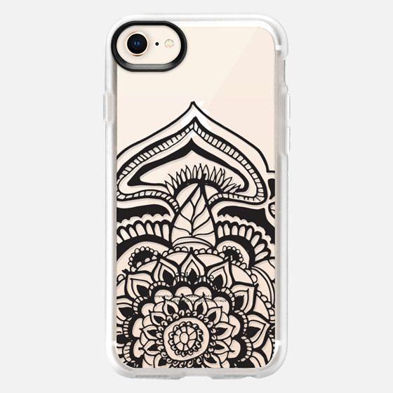 Black floral lace henna mandala pattern by Girly Trend - Snap Case