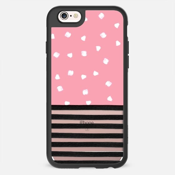 Modern black white stripes pink brushstrokes dots by Girly Trend -