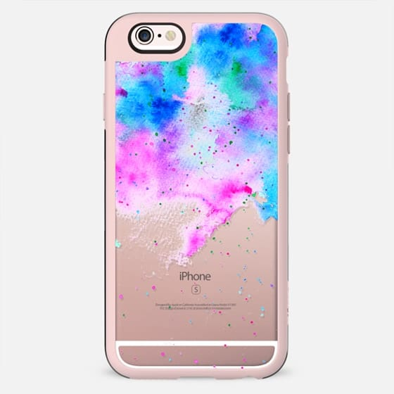Watercolor  pink blue splatters bright colorful paint by Girly Trend - New Standard Case