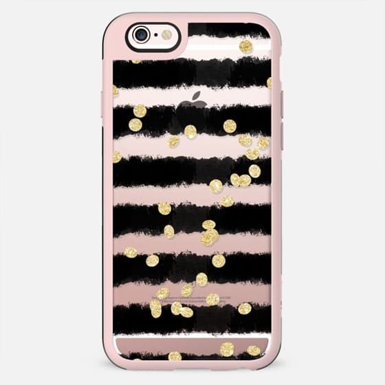 Modern black watercolor stripes chic gold confetti  by Girly Trend