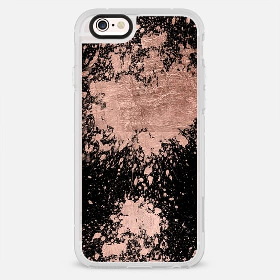 Modern rose gold foil splatter brush on black by Girly Trend - New Standard Case