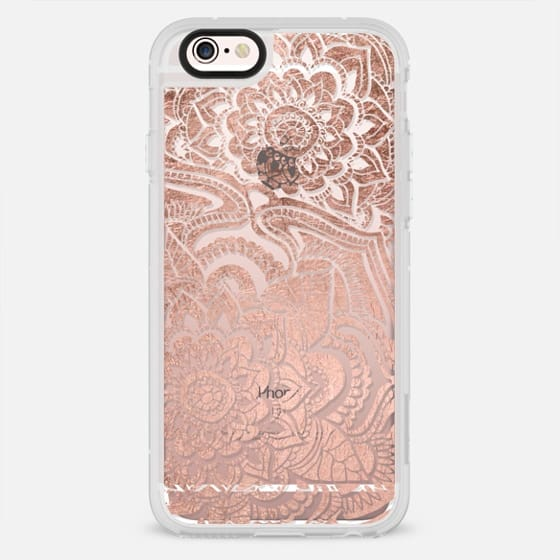 Modern floral rose gold mandala pattern illustration by Girly Trend - New Standard Case