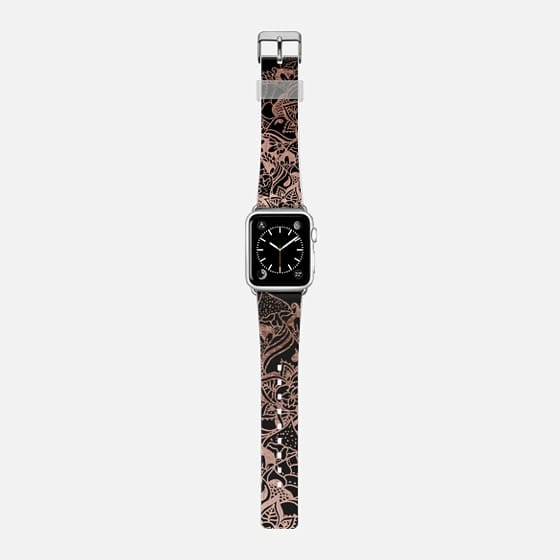 Modern chic elegant rose gold black handdrawn boho mandala by Girly Trend -