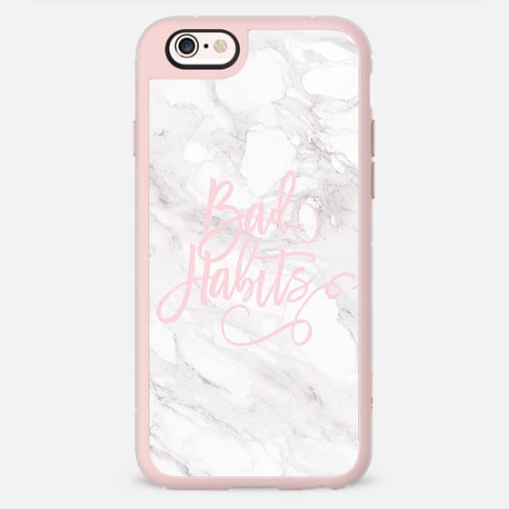 Modern trendy bad habits quote pink pastel typography chic white marble by Girly Trend