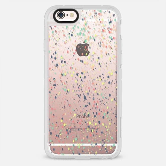 Modern pastel blue pink yellow paint splatters by Girly Trend