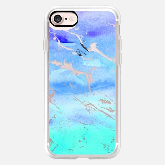 Turquoise teal sea ombre watercolor marble semi transparent by Girly Trend
