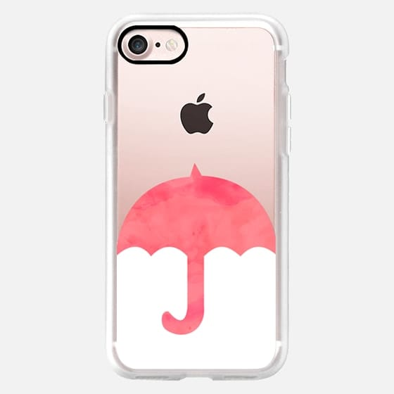 Modern pink watercolor umbrella shower white by Girly Trend