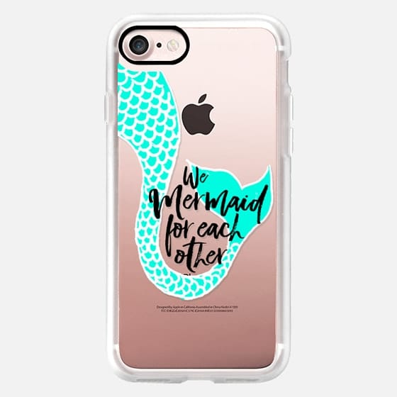 Modern turquoise hand painted mermaid tail typography mermaid for each other by Girly Trend