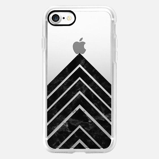 Modern trendy elegant geometric black marble triangle stripes by Girly Trend
