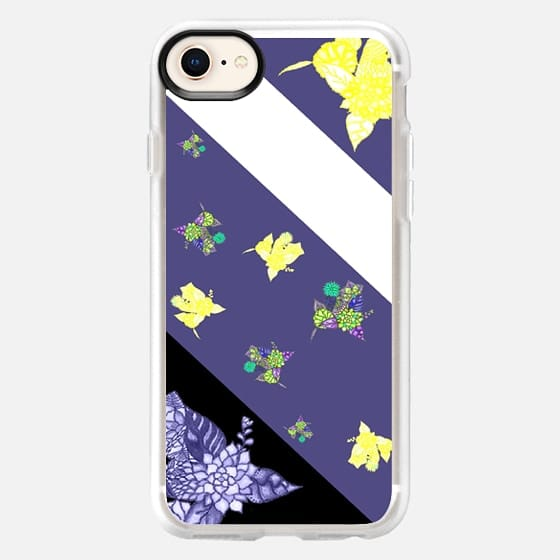 Purple black white color block floral by Girly Trend - Snap Case
